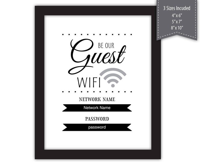 graphic regarding Wifi Password Sign Printable identify Be Our Visitor WiFi Pword Indicator --- PDF Template - Printable --- #High definition377-S