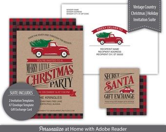 Invitation Suite Templates - Printable --- Vintage Country Christmas   Holiday Party --- Buffalo Plaid - Kraft ---  SKU# H117-IS