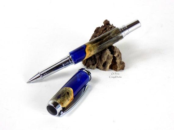 Buckeye Burl Wood Pen Emerald Green Hybrid Rollerball Chrome 2 Piece Cap Pen
