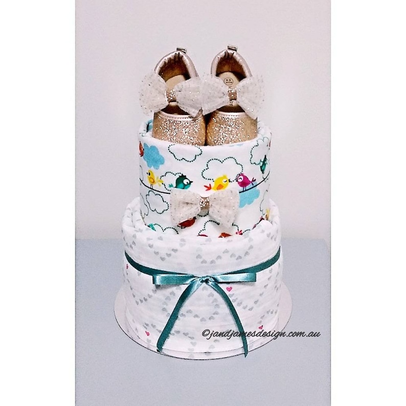 2-Tier My 1st Sparkling Shoes Nappy Cake Design image 0