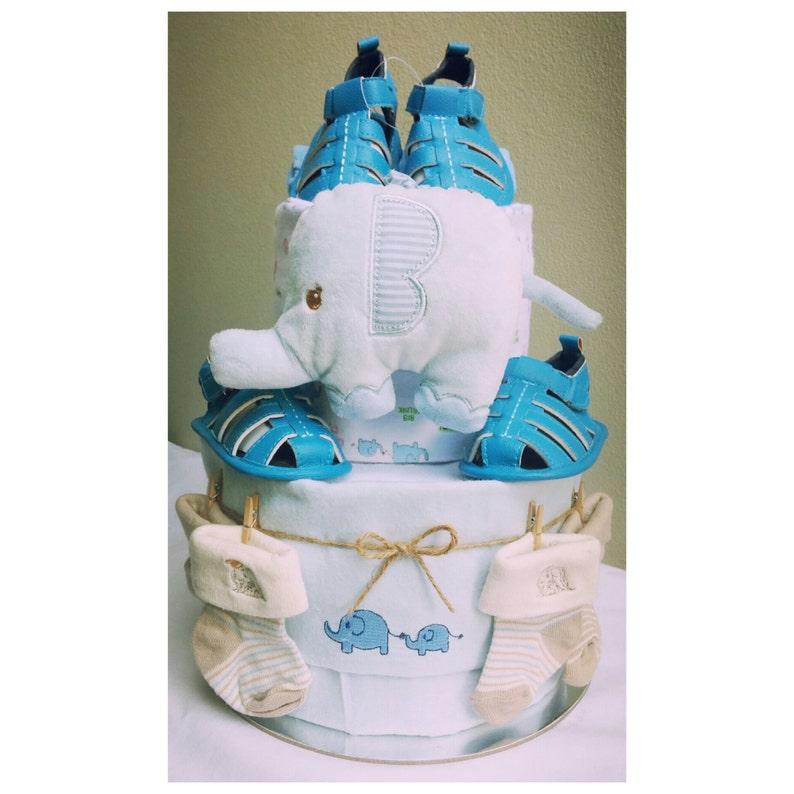 2-Tier Twin Boys Nappy Cake Design image 0