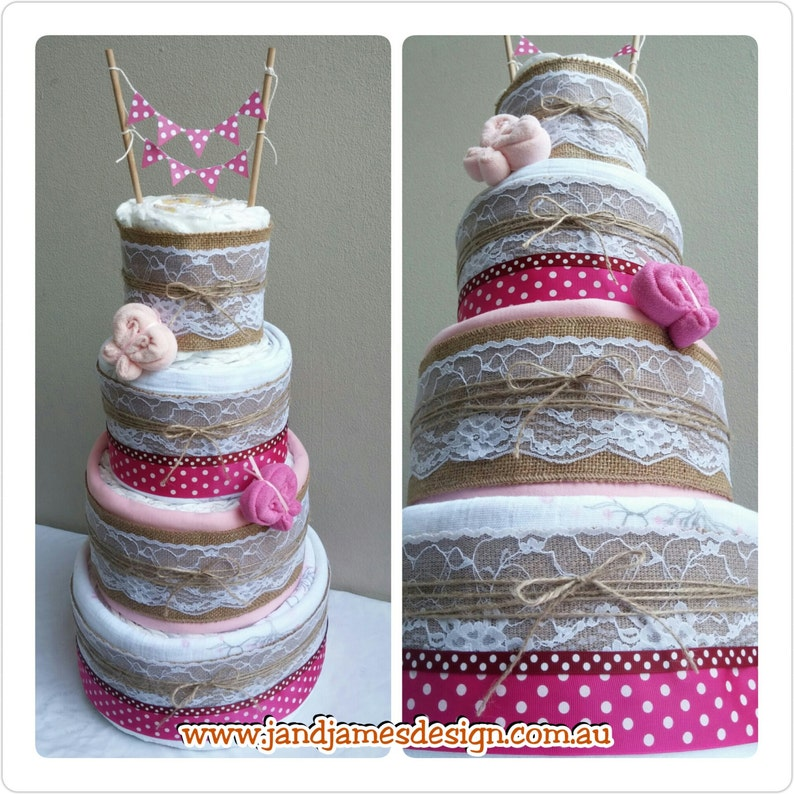 4 Tier LUX Nappy Cake Design