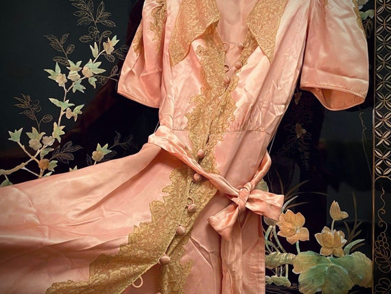 Antique Button Up Gown - Silk, Pink, Vintage, 1920