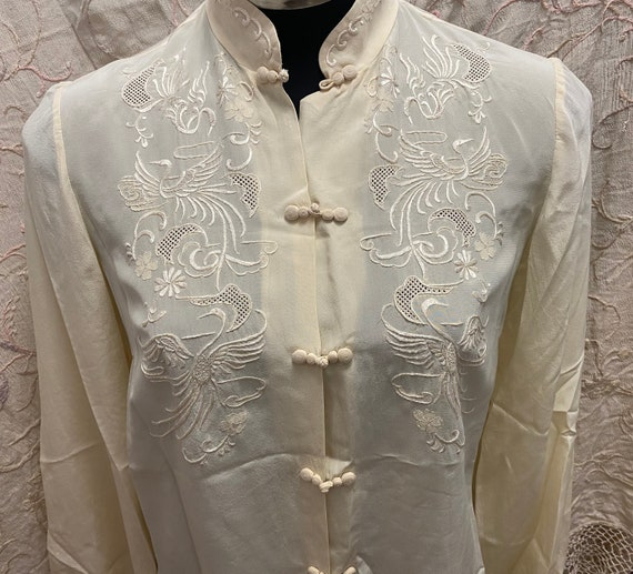 Vintage 1950s Oriental Embroidered Long Sleeve Sil