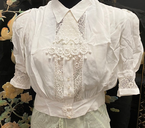 Vintage Blouse - 1950s, Top, White, Puff Sleeve, … - image 2