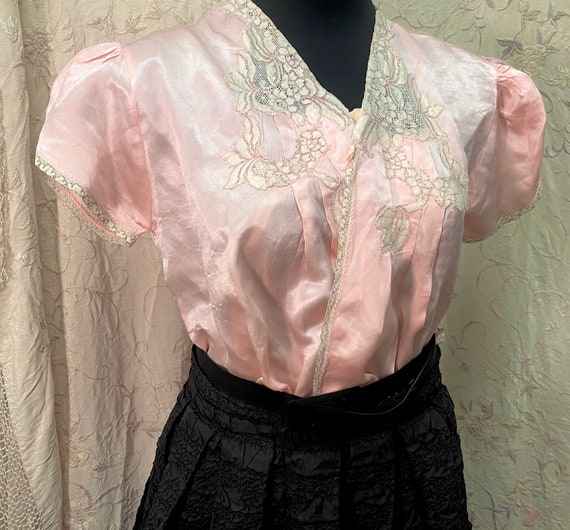 1940s Puff Sleeve Top — Pink, Vintage, Alencon Lac