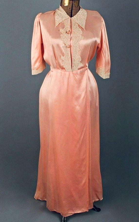 Antique Wrap Gown - Silk, Pink, Vintage, 1920s, 20
