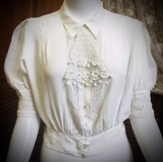 Vintage Blouse - 1950s, Top, White, Puff Sleeve, … - image 1