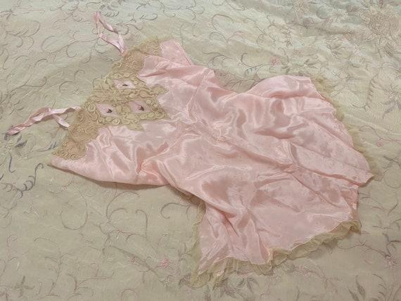 French Soutache Pink Teddy — 1930s, Silk Satin, Ro