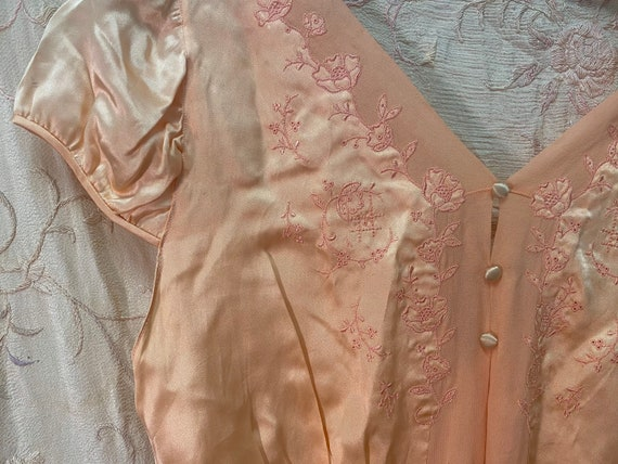 Pink 1930s Gown — Silk Satin, French, Buttons, Ale