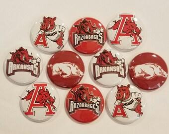 "10 Arkansas Razorbacks pinback / buttons /  1"" buttons / flat back / pin / magnet / razorbacks / college football / hair bows /Set of 10"