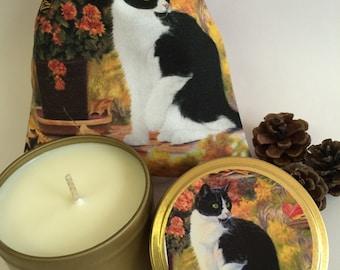 6oz Candle Tin - Autumn Black & White Cat