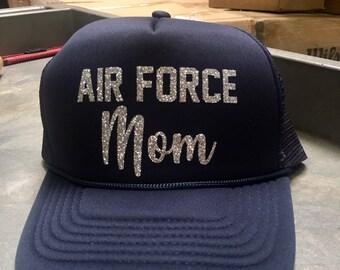 64b5825bbb2 Air Force Mom - glitter trucker hat