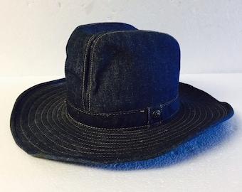 737626688d54e Vintage LEVI Strauss Denim Jean Cowboy Hat - Size 7 (Small-Medium) Wide Brim