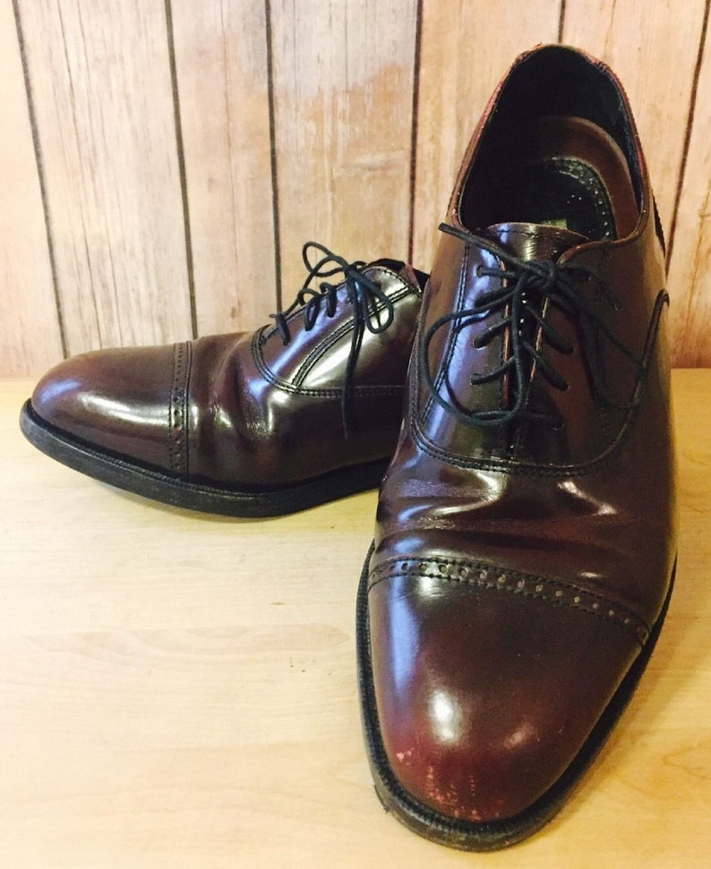 2e3189740763e Florsheim Burgundy Brown Cap Toe Oxford Size 8.5 EE (Wide) Red Wine Shoes