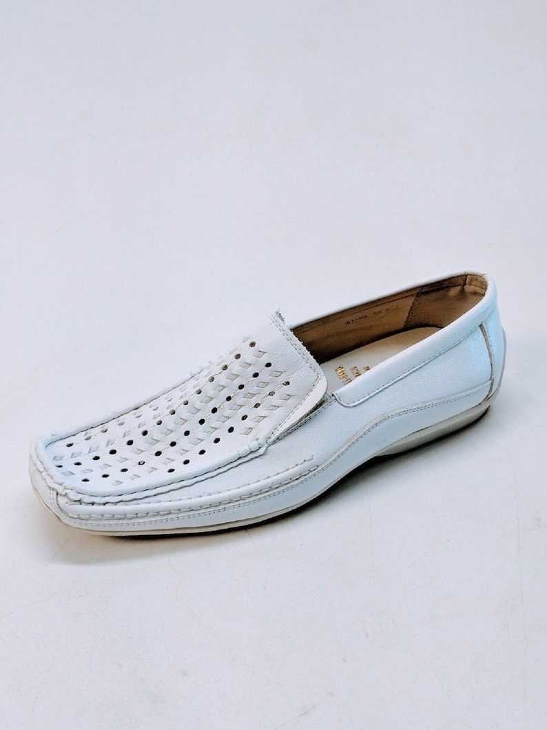 8a2754b60e781 Vintage Mens BALL-BAND White Woven Leather Slip On Driving Loafers Size 6.5  M