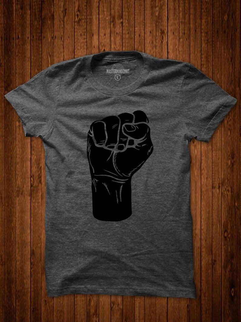 4f2f724ec Gold Fist T'shirt Unity Shirt Black Panthers Black   Etsy