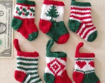 "6 TINY CHRISTMAS STOCKINGS -  4"" long - hand knit"