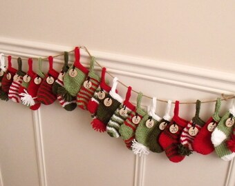 ADVENT GARLAND - hand knitted 24 numbered stockings - mittens & hats