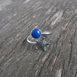 Silver Starfish | Lapis Lazuli | Adjustable Ring | Nautical Ring | Sea Star | Open Starfish Ring | Ocean Jewelry | Beach | Summer Jewelry