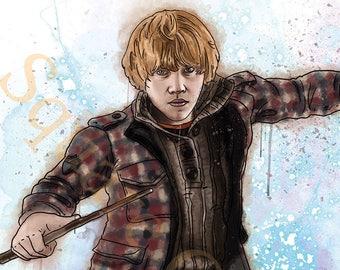 Rupert Grint as Ron Bilius Weasley Splash Style A4 Harry Potter Print