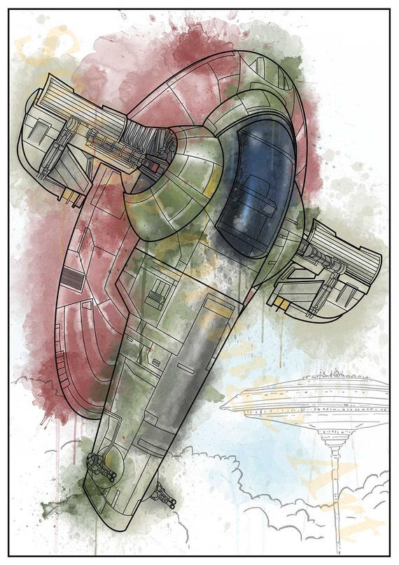 Slave 1 Boba Fett Jango Fett Space Ship Star Wars Inspired Etsy