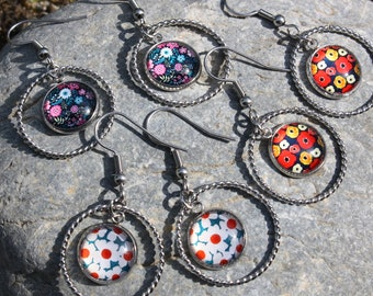 earrings circle flowers - earrings flowers - earrings fantasy - costume jewelry - floral jewelry - floral art