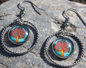 earrings circle tree of life - earrings tree of life - earrings fantasy - costume jewelry