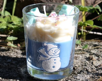 Christmas candle - Scented candle - Gourmet whipped cream candle - Decorated glass candle - Artisanal candle - Vegan vegetable natural candle