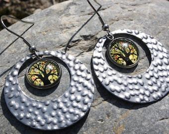 geometric earrings tree of life - earrings tree of life - fancy earrings - costume jewelry