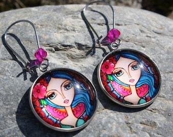 female face earrings - girl earrings - fancy earrings - costume jewelry - women's jewelry