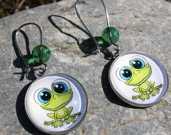 frog earrings - girl earrings - fancy earrings - costume jewelry - women's jewelry