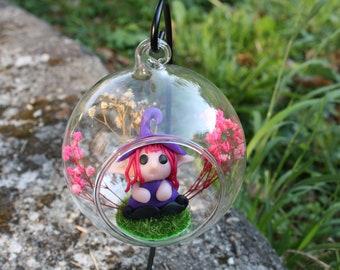 Hanging glass bell Elf - Elf decoration - fairy decoration - Flower elf bell - Christmas decoration - Elven decoration