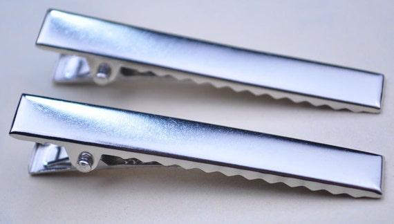 Hair Clips 50pcs Silver Tip Head Alligator Hair Clips 45x8mm