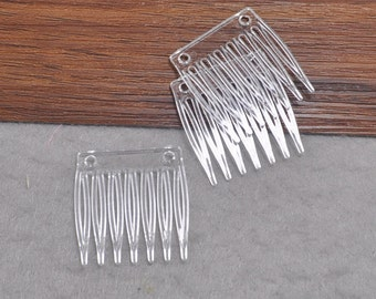 Plastic Comb,Clear Hair Combs 7 teeth 35x32mm,Millinery Supplies,Hair Accessories