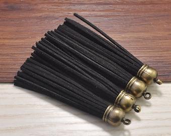 10pcs Long Tassels Craft,Black Suede Leather Tassels,Fringe Tassels Fiber Tassels,Bronze Plastic Cap,Keychain Tassels Jewelry 86x12mm
