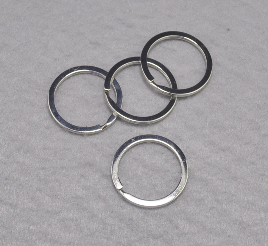 20pcs silver metal keychain rings clasps round keychain ring connector split key ring large
