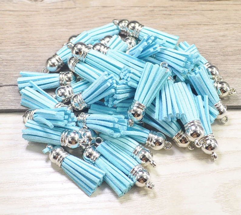 Small Suede Tassels 1.5/'/',Light Blue Faux Leather Tassels,Silver Cap,Fringe Tassels,Keychain Tassels,Tassels For Handbags  Shoes-20pc-#25