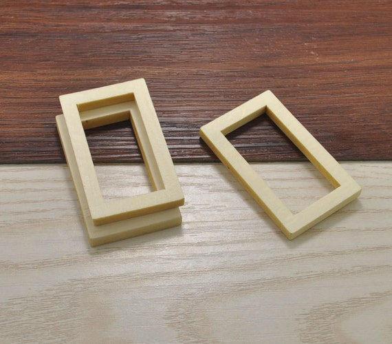 20pcs Wood Craftrectangle Wooden Frame Accessoriesrectangle Etsy
