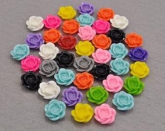 50pcs Resin Rose Cabochon 18mm diameter, Mixed colors/Flat back Necklace, Pendants.