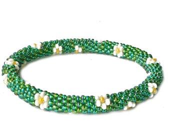 Peacock AB green glass beaded crochet bracelet with white flowers. Red seed beads bracelet. Kids, big wrist, all sizes slip on bangle