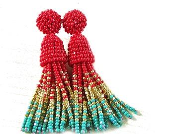 Red Aqua Green Opaque Beaded Stud Earrings turquoise ombre tassel earrings in Oscar de la Renta style Multicolored earrings gold