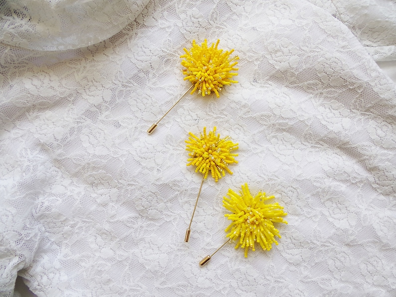 Yellow Dandelion flower embroidery brooch Summer beaded brooch in handmade Jeans accessories  Mother of groom gift Sunny jewelry