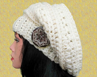 Winter slouchy hat pattern Slouchy beret Crochet hat pattern Crocheted hat Slouchy hat crochet pattern Easy crochet ppattern flower hat