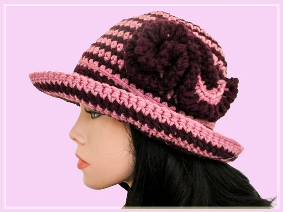 Crochet messy beanie wide brim hat Pattern Crocheted hat with  5129d23a2a8