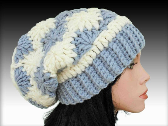 Slouchy Beanie Hat Crochet Pattern For Women Chunky Crochet Etsy