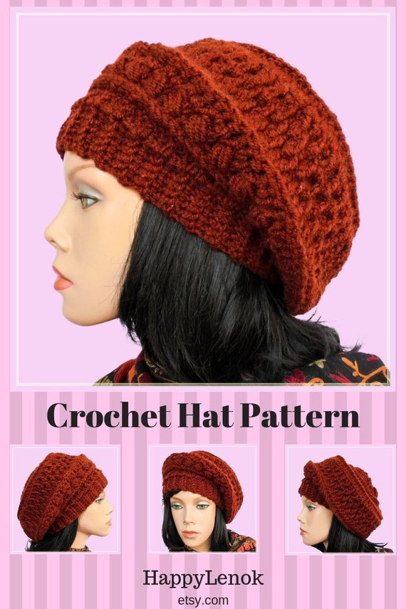 Slouchy beanie Hat patterns DIY crochet hat Everyday slouchy  778f28e6c75