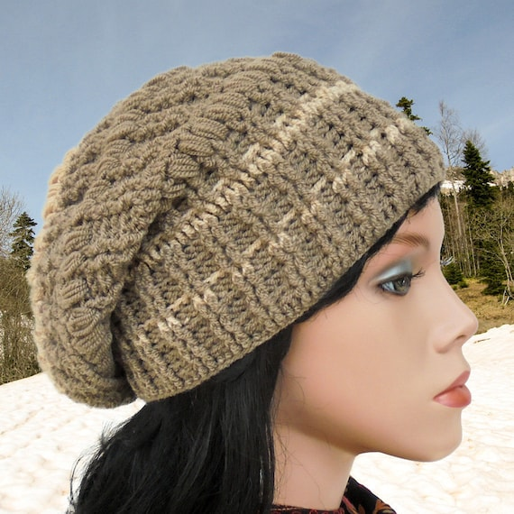 edf727028e9 Crochet hat patterns Women slouchy hat Crochet beanie hat
