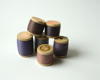 Soviet sewing thread spools, Set of 6 vintageWooden Thread Spool, Made in USSR, purple, lilac
