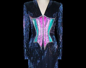 9a80947d4399f Bob Mackie vintage beaded gown, heavily beaded couture dress, evening formal  red carpet, 1980s 80s 80's, long sleeves, faux corset